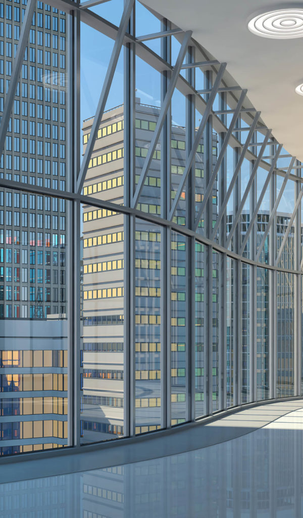 Interior of the hall with curved glazed walls and a view of the skyscrapers. 3d illustration.